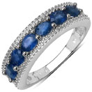 1.51CTW Genuine Blue Sapphire & White Diamond .925 Sterling Silver Ring