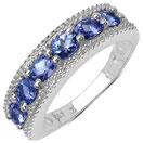 1.03CTW Genuine Tanzanite & White Diamond .925 Sterling Silver Ring