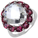 8.04CTW Genuine Crystal & Rhodolite .925 Sterling Silver Ring