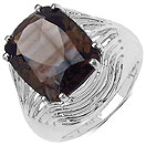 9.60CTW Genuine Smoky Topaz .925 Sterling Silver Cushion Shape Ring