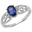 0.72CTW Genuine Iolite & White Topaz .925 Sterling Silver Ring