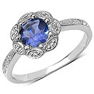 0.83CTW Genuine Iolite & White Topaz .925 Sterling Silver Ring