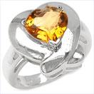 3.00CTW Genuine Citrine .925 Sterling Silver Heart Shape Ring