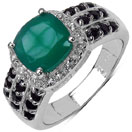 """9.08CTW Genuine Green Onyx, Black Spinel & White Topaz .925 Sterling Silver Ring"""