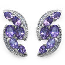 7.30CTW Genuine Amethyst & White Topaz .925 Sterling Silver Earrings
