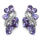 5.22CTW Genuine Amethyst & White Topaz .925 Sterling Silver Earrings