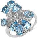 4.20CTW Genuine Blue Topaz & White Topaz .925 Sterling Silver Ring