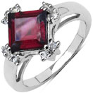 2.43CTW Genuine Rhodolite & White Topaz .925 Sterling Silver Ring