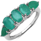 2.23CTW Genuine Emerald .925 Sterling Silver Ring