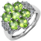 2.95CTW Genuine Peridot & White Topaz .925 Sterling Silver Floral Shape Ring