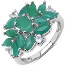 1.68CTW Genuine Emerald & White Topaz .925 Sterling Silver Floral Shape Ring