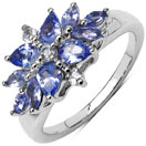 1.08CTW Genuine Tanzanite & White Topaz .925 Sterling Silver Floral Shape Ring