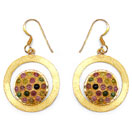 0.57CTW Genuine Multitourmaline Gold Plated .925 Sterling Silver Earrings