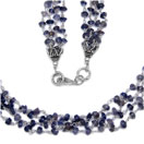 16.50 Grams Iolite Metal Bunch Necklace with Silver Caps