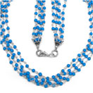 14.60 Grams Turquoise Color Synthetic Stone Metal Bunch Necklace with Silver Caps
