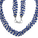 13.50 Grams Blue Synthetic Stone Metal Bunch Necklace with Silver Caps