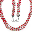 18.10 Grams Red Synthetic Stone Metal Bunch Necklace with Silver Caps