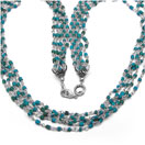 22.70 Grams Turquoise Color Synthetic Stone Metal Bunch Necklace with Silver Caps