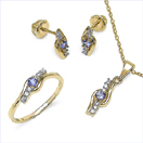 0.58CTW 18K Yellow Gold Tanzanite & White Diamond Jewellery Set