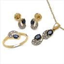 1.93CTW 18K Yellow Gold Blue Sapphire & White Diamond Jewellery Set