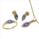 1.18CTW 18K Yellow Gold Amethyst & White Diamond Jewellery Set