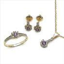 0.72CTW 18K Yellow Gold Amethyst & White Diamond Jewellery Set