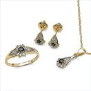 0.77CTW 18K Yellow Gold Blue Sapphire & White Diamond Jewellery Set
