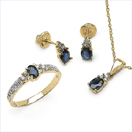 2.16CTW 18K Yellow Gold Blue Sapphire & White Diamond Jewellery Set