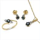 1.92CTW 18K Yellow Gold Blue Sapphire & White Diamond Jewellery Set