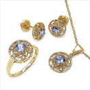 1.87CTW 18K Yellow Gold Tanzanite & White Diamond Jewellery Set