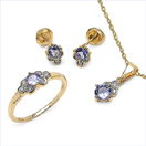 1.57CTW 18K Yellow Gold Tanzanite & White Diamond Jewellery Set