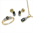 2.27CTW 18K Yellow Gold Blue Sapphire & White Diamond Jewellery Set