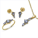 2.06CTW 18K Yellow Gold Tanzanite & White Diamond Jewellery Set