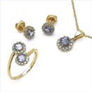 2.14CTW 18K Yellow Gold Tanzanite & White Diamond Jewellery Set