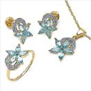 4.70CTW 18K Yellow Gold Swiss Blue Topaz & White Diamond Jewellery Set