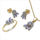 1.86CTW 18K Yellow Gold Tanzanite & White Diamond Jewellery Set