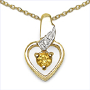 0.27CTW Genuine Citrine & White Diamond .925 Sterling Silver Gold Plated Pendant