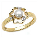 0.44CTW White Pearl & Cubic Zirconia .925 Sterling Silver Ring