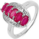 1.57CTW Genuine Glass Filled Ruby & White Diamond .925 Sterling Silver Ring