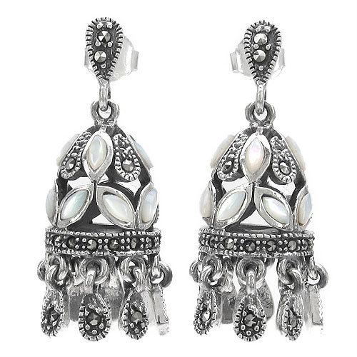 15.70 Grams Pearl & Marcasite .925 Sterling Silver Earrings