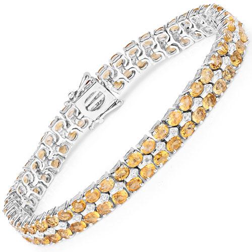 14.52CTW Citrine & White Diamond .925 Sterling Silver Bracelet
