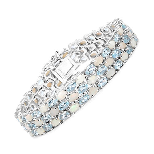 25.85CTW Genuine Opal & Blue Topaz .925 Sterling Silver Bracelet