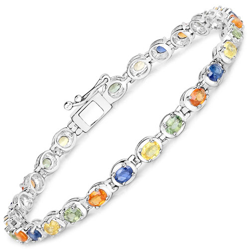 6.75CTW Genuine Multisapphire .925 Sterling Silver Bracelet