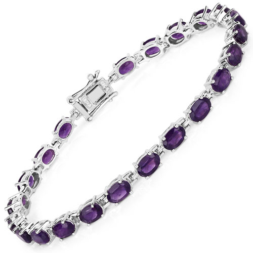 9.46CTW Genuine Amethyst .925 Sterling Silver Tennis Bracelet