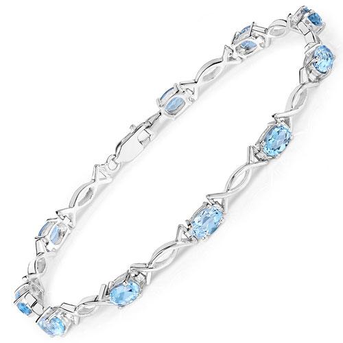 6.50CTW Genuine Blue Topaz .925 Sterling Silver Bracelet