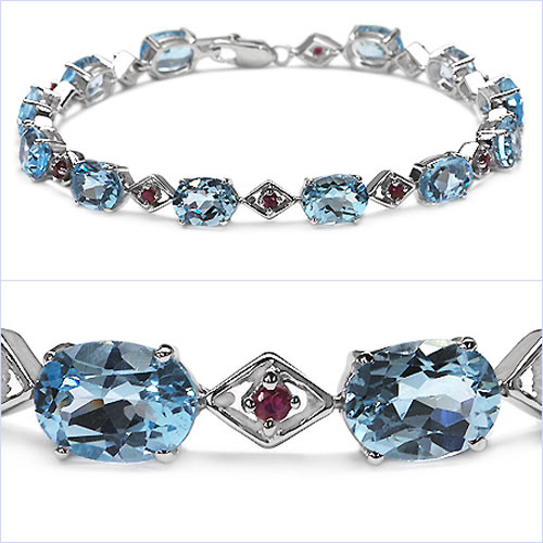 19.80CTW Genuine Blue Topaz & Ruby .925 Sterling Silver Bracelet