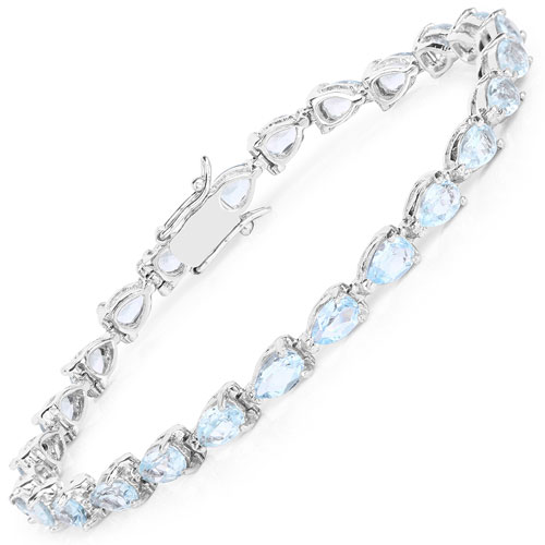 13.20CTW Genuine Blue Topaz .925 Sterling Silver Tennis Bracelet