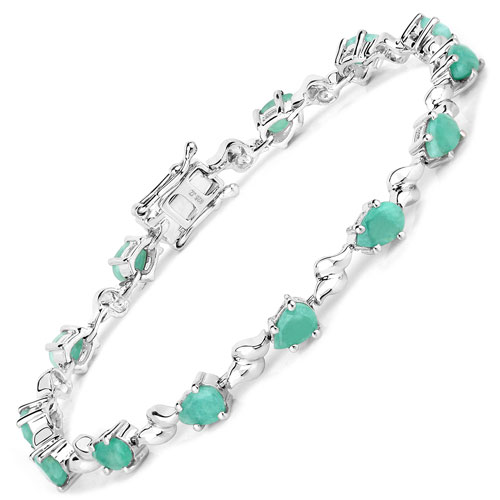 5.20CTW Genuine Emerald .925 Sterling Silver Bracelet