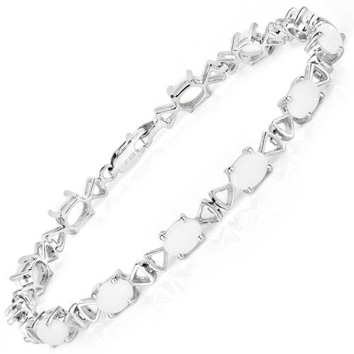 6.00CTW Genuine Opal .925 Sterling Silver Bracelet