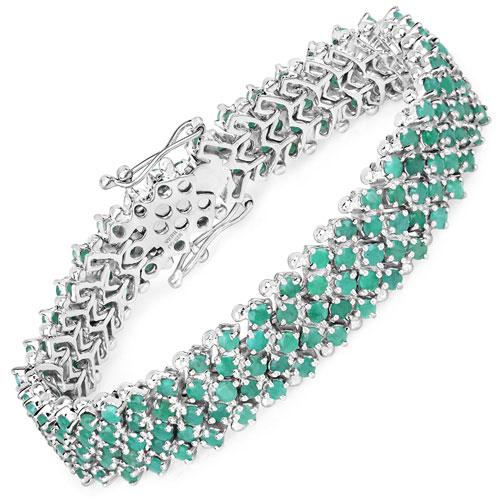 10.73CTW Genuine Emerald .925 Sterling Silver Tennis Bracelet